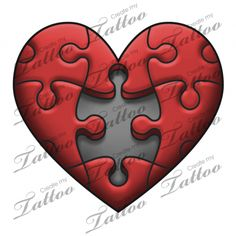 Marketplace Tattoo Puzzle Heart #18319 | CreateMyTattoo.com