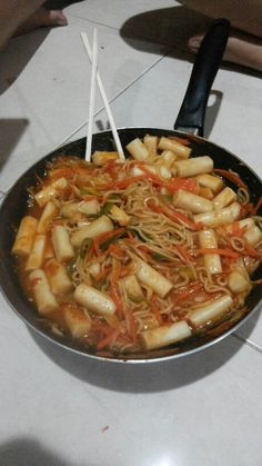 Tteokbokki with noodles and vegetable Minimal ingredient just add carrot, noodles and celery Its good enough for me and my friends