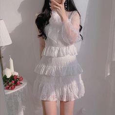 Korean Fashion Dress, Kpop Fashion Outfits, Korean Outfits, Japanese Fashion, Asian Fashion, Fashion Dresses, Skater Fashion, Party Fashion, Cute Fashion