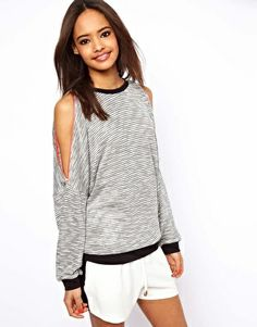Image 1 of ASOS Top with Zip Cold Shoulder
