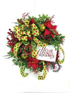 Whimsical red and lime green Merry Christmas wreath with poinsettias by Southern Charm Wreaths