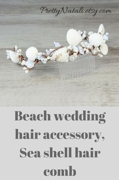 Lovely headpiece with off- white tyni flowers, beads and beautiful seashells for a majestic combination. Easily slips into hair with an plastic comb. Great for your Beach wedding. Seashell headpiece, Beach wedding hair accessories, Bridal headband, Seashell crown, Sea shell comb #weddinghair #bridalaccessories #beachbride #shellheadpiece