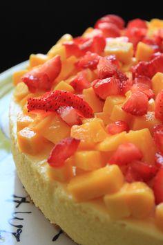 Mousse de mango con fresas