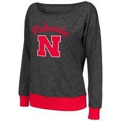 Colosseum Nebraska Cornhuskers Women's Charcoal Bikram Banded Bottom Sweater