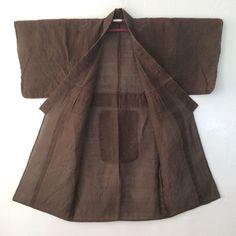 Mens VIntage Summer Kimono Persimmon Varnish Dark Brown par Hohju