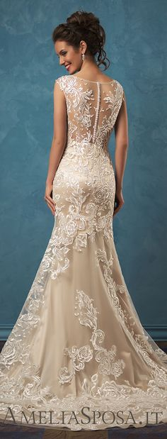 amelia sposa 2017 bridal sleeveless sheer lace thick strap v neck heavily embellished bodice elegant sheath wedding dress sheer lace back sweep train (olivia type mv -- Amelia Sposa 2017 Wedding Dresses Dream Wedding Dresses, Bridal Dresses, Wedding Gowns, 2017 Wedding, 2017 Bridal, Beige Wedding Dress, Champagne Lace Wedding Dress, Wedding Dress Sheath, Summer Wedding