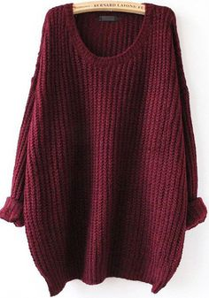 Red Plain Round Neck Casual Pullover Sweater
