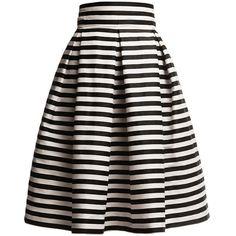 Rumour London - Amalfi Striped Midi Skirt (€170) ❤ liked on Polyvore featuring skirts, bottoms, gonne, saias, black pleated skirt, pleated skirt, black midi skirt, striped skirt and striped pleated skirt