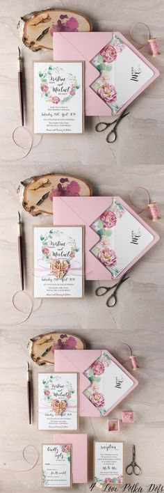 Pink and green watercolor wedding invitations #pinkwedding #gardenwedding