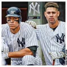 Aaron Judge and Gary Sanchez - NY Yankees Yankees News, New York Yankees Baseball, Yankees Fan, Baseball Players, Baseball Cards, Baseball Tickets, Mlb Players, Baseball Gifts, Baseball Field