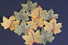 The Activity Mom: Leaf Counting Game. Toss the leaves in the air and then pick them up in numerical order