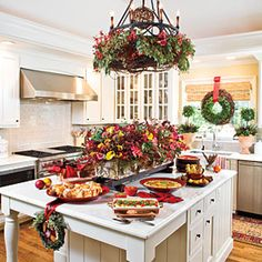 Merry Morning Christmas Brunch. I would love to have a kitchen like this some day...
