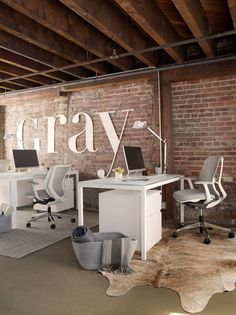 GRAY Magazine's Modern Glam Office – Room & Board – industrial office interior Office Space Design, Modern Office Design, Office Interior Design, Office Interiors, Modern House Design, Office Designs, Modern Desk, Office Ideas, Modern Office Spaces