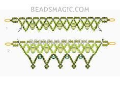 Free pattern for necklace BELLE   Beads Magic#more-9643. Use: seed beads 11/0, crystal rondelles 4x6mm, faceted beads 4mm. Page 2 of 2