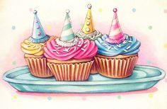 vintage bakery inspired party hats cupcakes matted print by Everyday is a Holiday