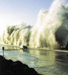 A tsunami  is a series of water waves caused by the displacement of a large volume of a body of water, typically an ocean or a large lake. Earthquakes, volcanic eruptions and other underwater explosions (including detonations of underwater nuclear devices), landslides, glacier calvings, meteorite impacts and other disturbances above or below water all have the potential to generate a tsunami