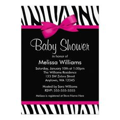 A trendy black and white zebra pattern with a hot pink bow graphic is featured on this fun baby shower invitation. Perfect for a little girl baby shower! Designs are printed illustrations/graphics - NOT ACTUAL RIBBON. #timelesstreasure