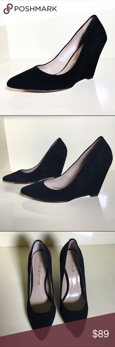 """pour la victoire Mai black suede wedge pumps 6.5 This show is in great condition has not been worn.  Kid suede upper. Suede does have some very light marks.  Pointed toe. Low-cut vamp visually lengthens legs. Leather lining and sole. 4"""" covered wedge heel. """"Mai""""  size 6.5 Pour la Victoire Shoes Wedges"""