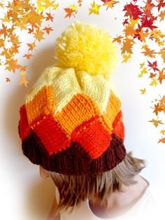 Hand Knitted Beanie Hat. Bright colors. Big Fluffy Pompom. For Adults and Teens. #Handmade #Beanie