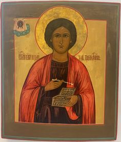 """The Grand Martyr Saint Pantaleon (Panteleimon) is depicted as a doctor with a medicine box and an ointment spatula. He is one of the fourteen holy helpers and is the patron saint of doctors, pharmacists and midwives. Pantaleon, like Cosmas and Damian, belongs to a group of saints called """"Holy Unmercenaries"""" because they did not allow their (poor) patients to pay for their medical services. Above: the Mandylion: the image of the Saviour Made Without Hands from the city of Edessa. Patron Saint Of Doctors, Christus Pantokrator, Religion, Pharmacists, Russian Icons, Patron Saints, Mona Lisa, Medicine, Museum"""