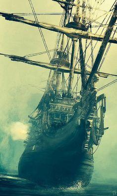 55 Super Ideas For Pirate Boats Sailboats Pirate Boats, Pirate Art, Pirate Life, Pirate Ships, Wie Zeichnet Man Manga, Arte Steampunk, Bateau Pirate, Old Sailing Ships, Ghost Ship