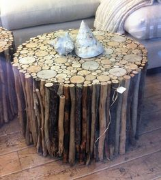And look, what a beauty this small coffee table is. Its easy to build and have the world of nature shrunk into it. These small twigs are glued strongly together to form this amazing coffee table. Its purely natural and rustic. Driftwood Furniture, Driftwood Table, Log Furniture, Natural Wood Furniture, Furniture Ideas, Modern Furniture, Wood Projects, Woodworking Projects, Into The Woods