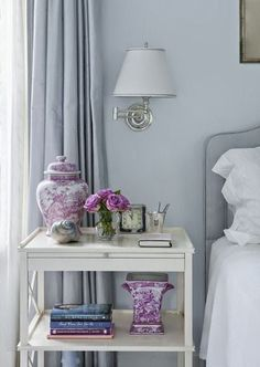 South Shore Decorating Blog: What I Love Wednesday: Rooms With Flair | pretty bedroom with lovely night table styling