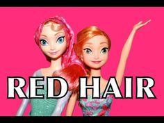 Frozen ELSA Makeover RED HAIR TIPS Disney Princess Anna Color Change Barbie Parody AllToyCollector