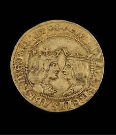 A coin called gold excelente, double ducat or Granada excelente. It was minted after the conquest of Granada, in the new Toledo mint. On the back there are two crowned busts facing each other (man and woman) and a circular legend that identifies them as the Catholic Monarchs 1497 - 1566. | Museo Sefardí