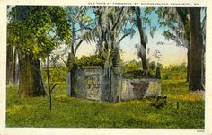 Vintage Postcard: Old Tomb at Frederica, Saint Simons Island, Brunswick, Georgia; marks site with many primary sources on rootwork Wiccan, Magick, Witchcraft, Pagan, Spiritual Church, Magic Herbs, Magic Spells, The Conjuring, Occult