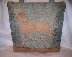 Blue Dachshund Wiener Dog Handbag