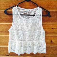 Lily White Cream Lace Top🍃🍃🍃 Crochet Lily White design top with peplum. So Pretty!!!  You will find many many occasions to wear this top. 🌾🌾🌾🌾🌾🌾🌾🌾🌾🌾🍃🍃🍃🍃🍃🍃🍃🍃🍃🍃🍃🍃🍃🍃🍃 Lily White Tops