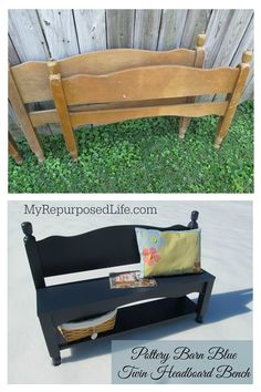 old bunkbed makes a great entryway bench with bottom shelf for storage, painted Naval (Pottery Barn Blue) Window Headboard, Old Headboard, Headboard Benches, Bench Furniture, Repurposed Furniture, Furniture Makeover, Cool Furniture, Lego Table With Storage, Making A Bench