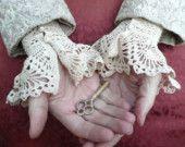 Items similar to Lace Crochet Cuffs Ecru White Cotton  Pearls Wedding Romantic Custom Made on Etsy