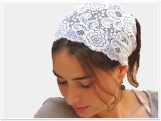 Sara Attali Design Lace Pre-tied Headband One Size Turqoise at Amazon Women's Clothing store:
