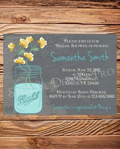 Mason Jars Bridal Shower Invitation, Vintage Mason Jar Invitation, Gray, Mason Jars, Ball, Mason Jar Wedding Shower Invitation (6126) via Etsy