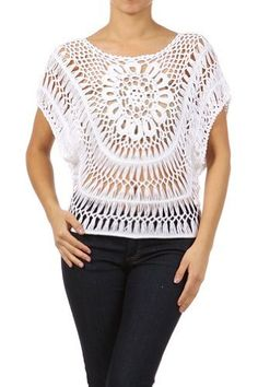 Modern Kiwi Janine Crochet Knit Top White One Size Modern. Hairpin Lace Patterns, Hairpin Lace Crochet, Crochet Tunic, Crochet Rope, Crochet Clothes, Crochet Patterns, Crochet Edgings, Loom Patterns, Crochet Motif