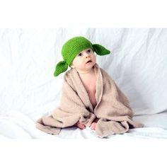Milk protein cotton yarn handmade baby Yoda hat - fits 6 to 12 months baby