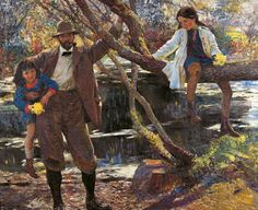 Dame Laura Knight      Lamorna Birch and His Daughters