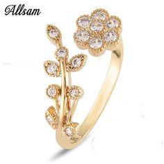 Adjustable Rings For Women 14k Gold Plated Flower Ring Mini Finger Women Rings Fashion Wedding Jewelry christmas gift 36-4