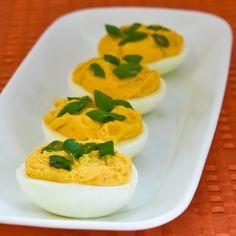 Sriracha Deviled Eggs Recipe plus Ten More Interesting Ideas for Deviled Eggs [from KalynsKitchen.com]