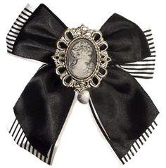 Pinstripe Cameo Gothic Steampunk Hair Bow Clip Fascinat
