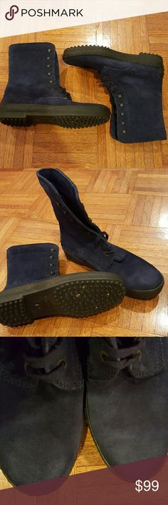 Tod's blue leather lace up boots Made in Italy  The boots are in good pre owned condition Tod's Shoes Winter & Rain Boots