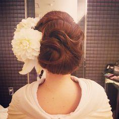#ヘアセット#ヘアスタイル#ヘアアレンジ#ヘア#和装#着物#白無垢#花嫁#前撮り#お花 #結婚式#bridal#wedding#髪型#updo #ヒルサイド神戸#ダリア#百合#生花