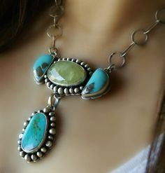 Where Sea Meets Sky - Turquoise and Prehnite Sterling Silver Necklace