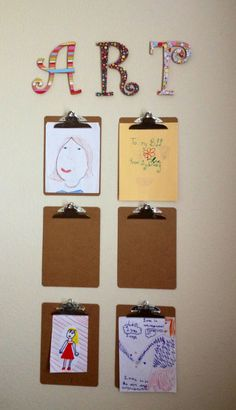 A cute solution to hanging up your kids' artwork without making it look cluttered