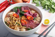Beetroot Mee Hoon Kueh with Meatballs Stuffed Mushrooms, Stuffed Peppers, Food Network Recipes, Food Processor Recipes, Asian Food Channel, Pork Broth, Fried Shallots, Asian Recipes, Kitchens