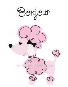 Nursery Art Decor, Kids Wall Art, Baby Girl Nursery, Paris Nursery, Poodle, Dog, Bonjour, 8x10 Print. $12.00, via Etsy.