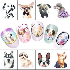 1 sheet Cute Dog Watermark Nail Decals Nail Art Water Transfer Stickers Beauty Wraps Polish Decor Manicure Tools LABLE2292-2302