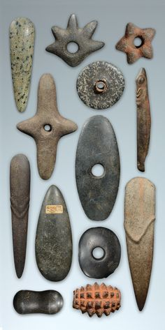 New Guinea stone club heads, markers and tools. Ex-John Friede, Ex-Marc Assayag Tookalook Tribal Art Gallery.